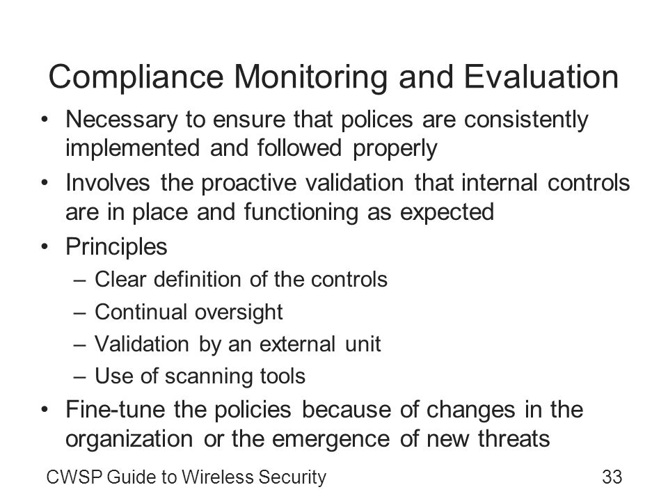 Compliance Monitoring and Evaluation