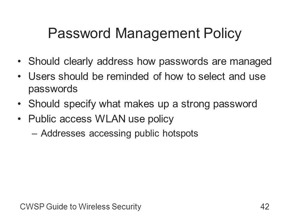Password Management Policy
