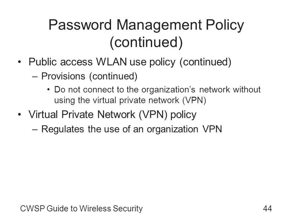 Password Management Policy (continued)