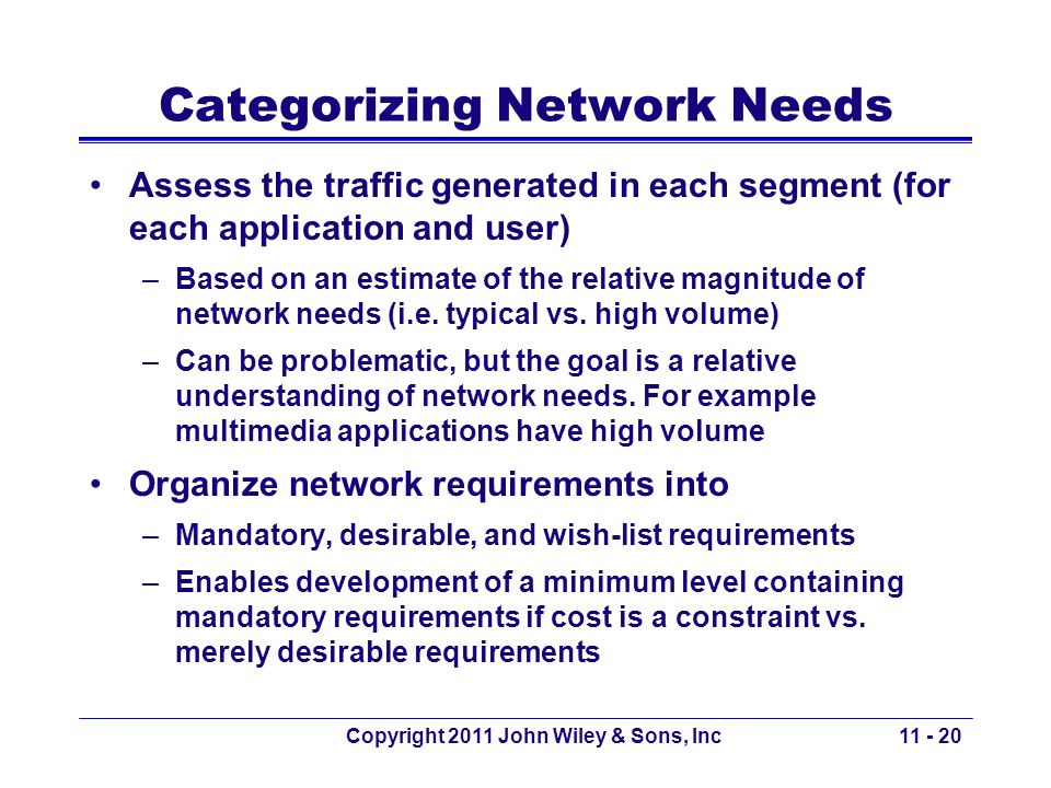 Categorizing Network Needs