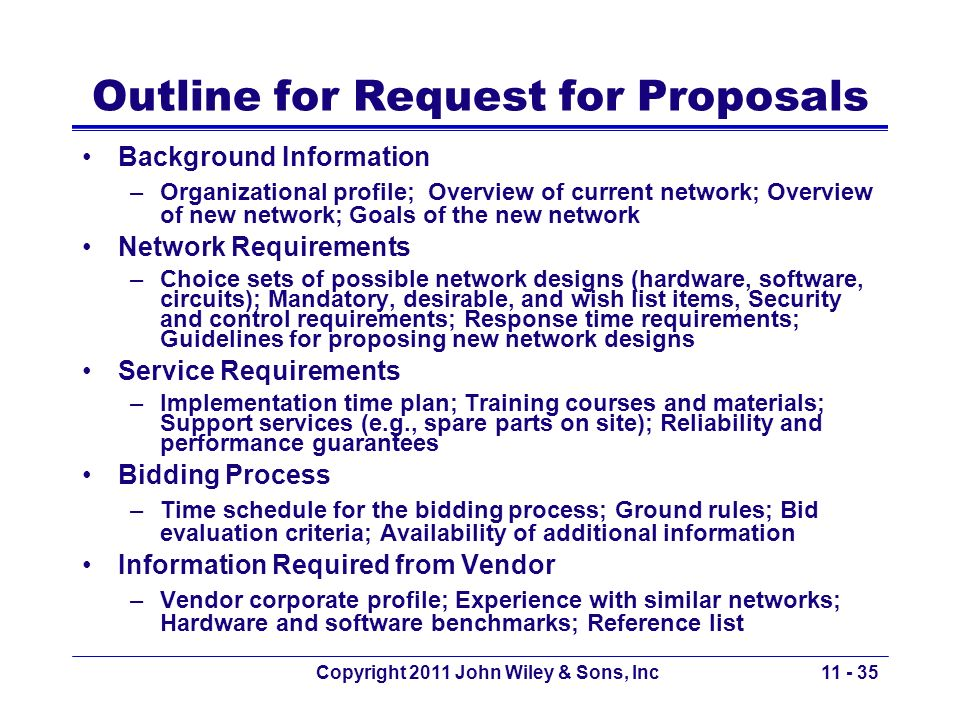 Outline for Request for Proposals
