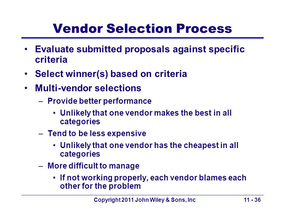 Vendor Selection Process