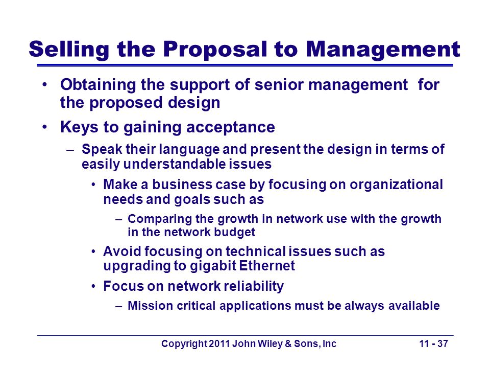 Selling the Proposal to Management
