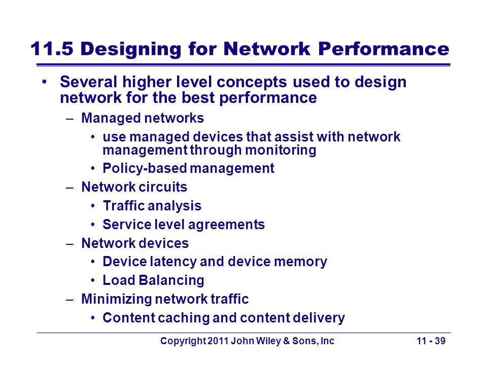 11.5 Designing for Network Performance