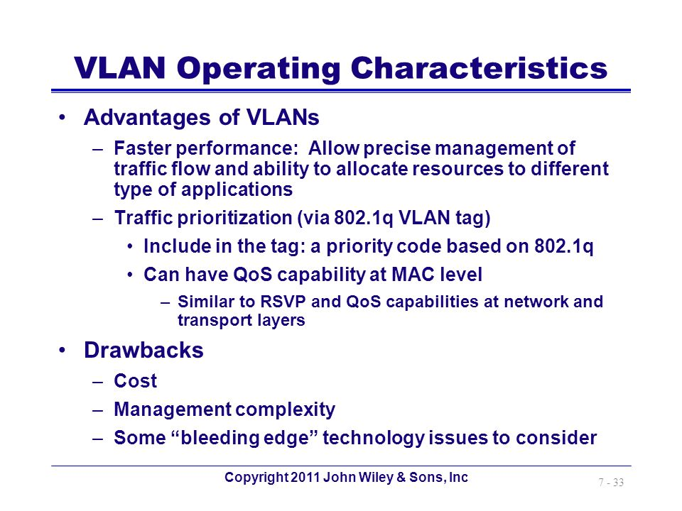 VLAN Operating Characteristics