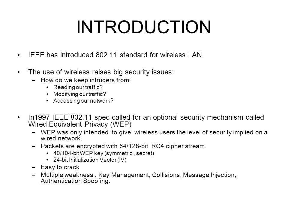 INTRODUCTION IEEE has introduced 802.11 standard for wireless LAN.