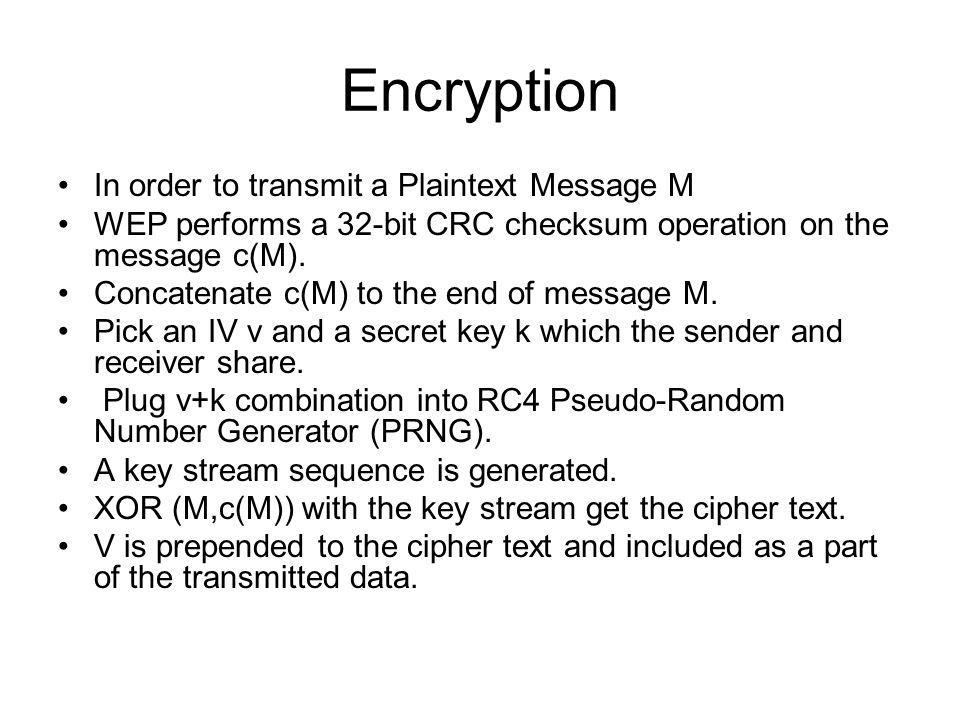 Encryption In order to transmit a Plaintext Message M
