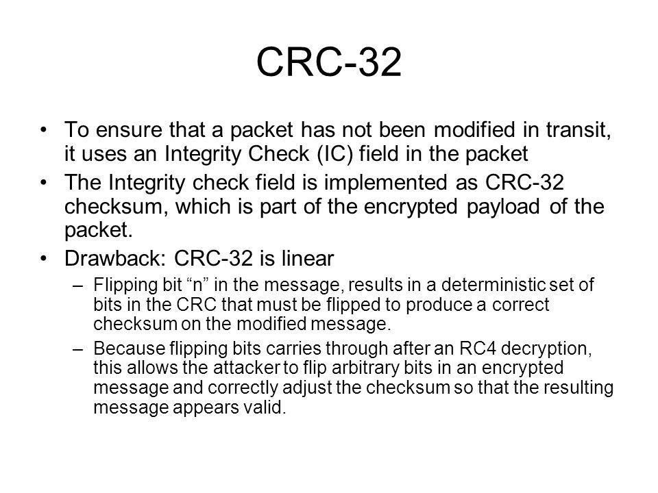 CRC-32 To ensure that a packet has not been modified in transit, it uses an Integrity Check (IC) field in the packet.