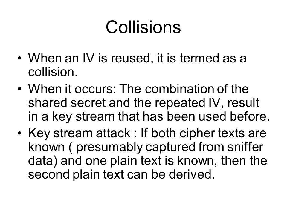 Collisions When an IV is reused, it is termed as a collision.