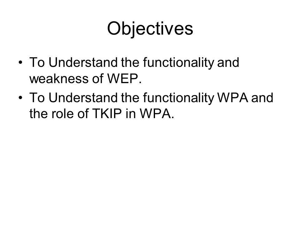 Objectives To Understand the functionality and weakness of WEP.