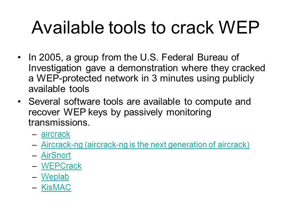 Available tools to crack WEP