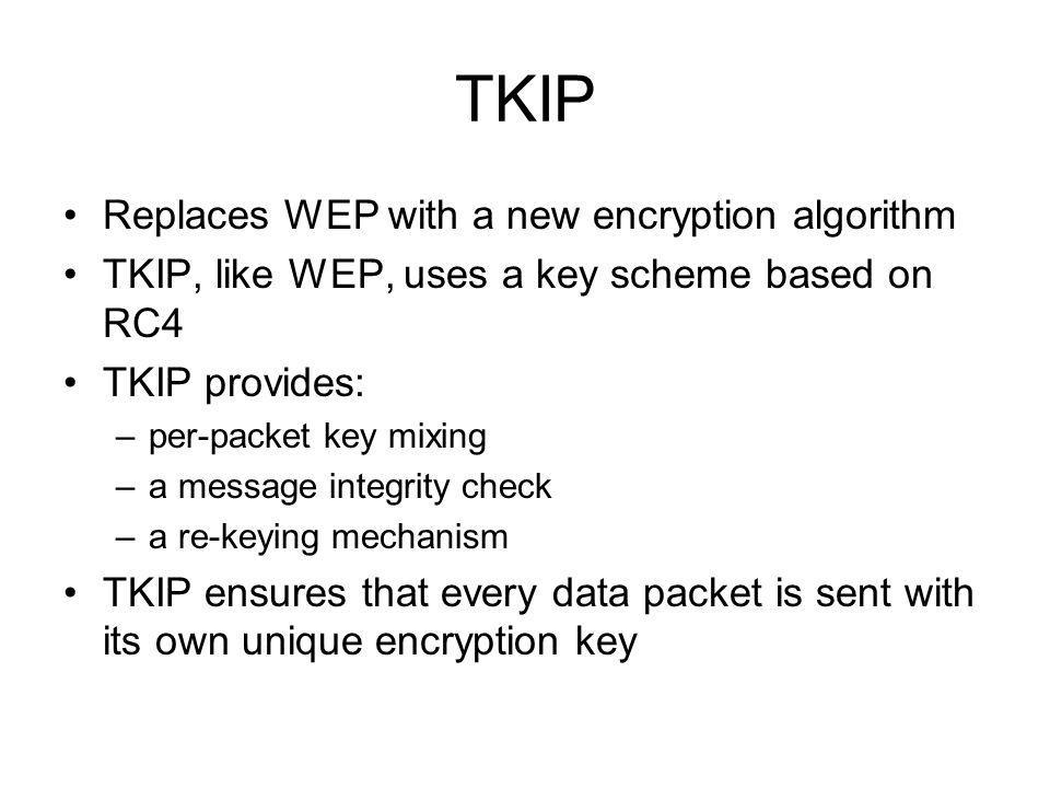 TKIP Replaces WEP with a new encryption algorithm