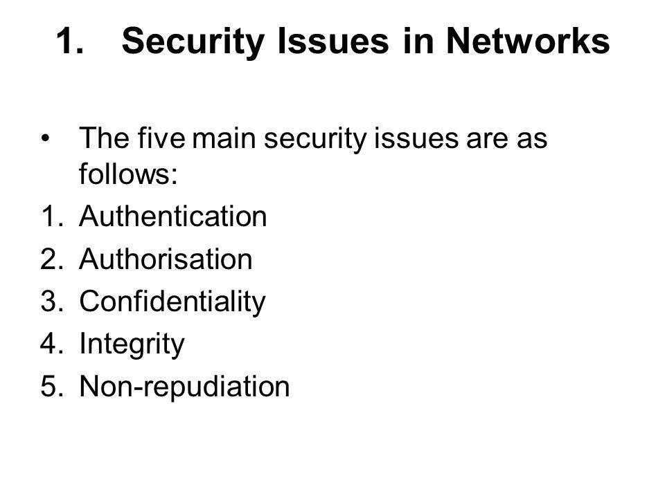 1. Security Issues in Networks