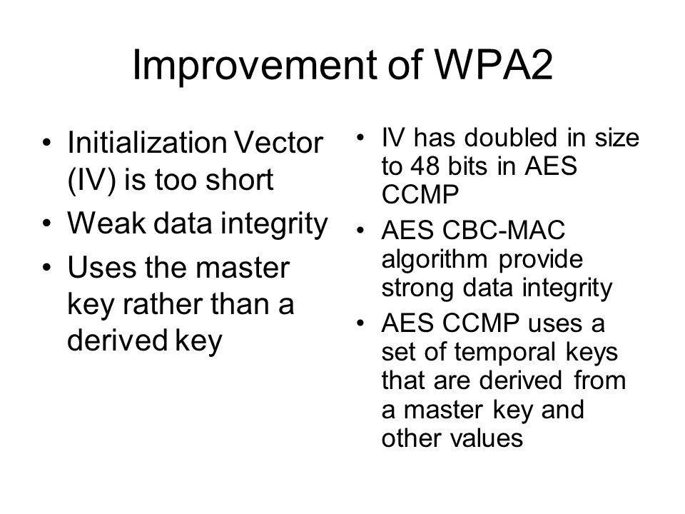 Improvement of WPA2 Initialization Vector (IV) is too short