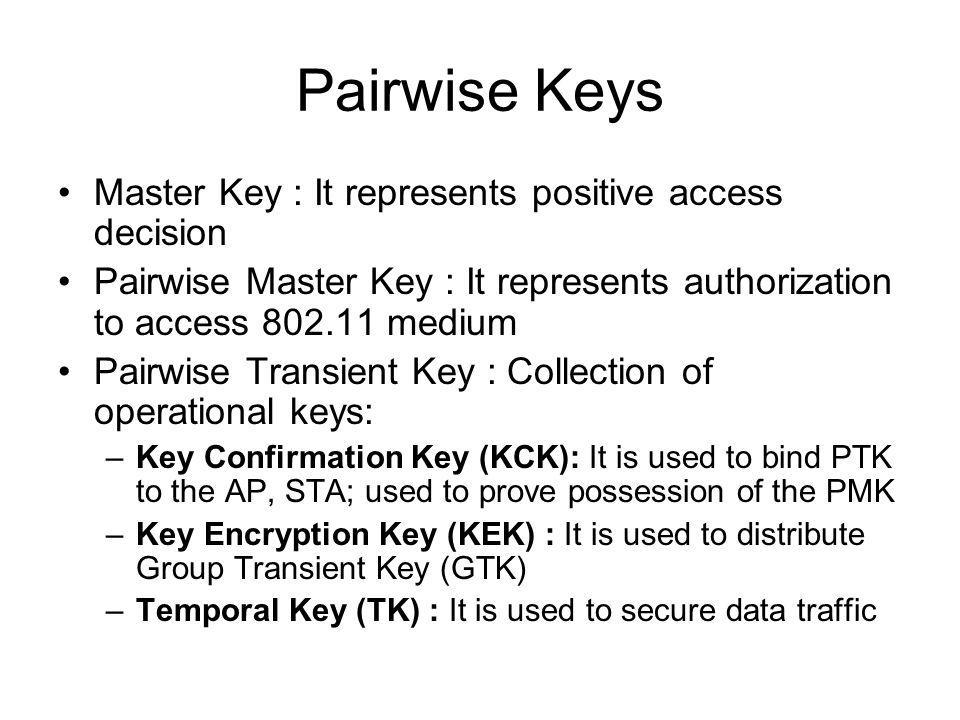 Pairwise Keys Master Key : It represents positive access decision