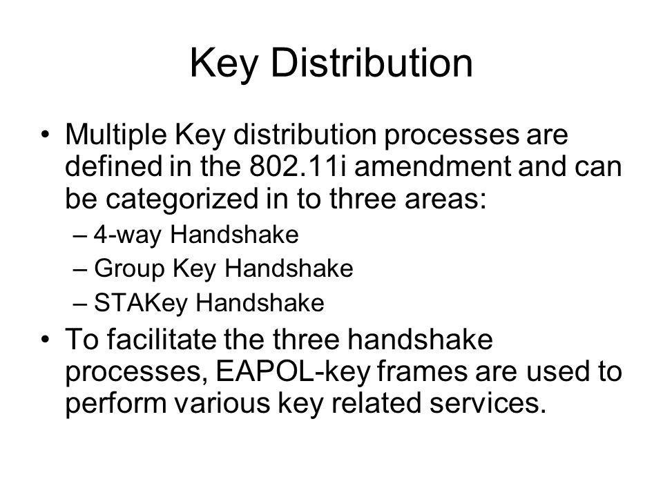 Key Distribution Multiple Key distribution processes are defined in the 802.11i amendment and can be categorized in to three areas: