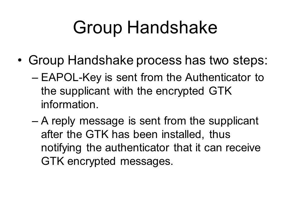 Group Handshake Group Handshake process has two steps: