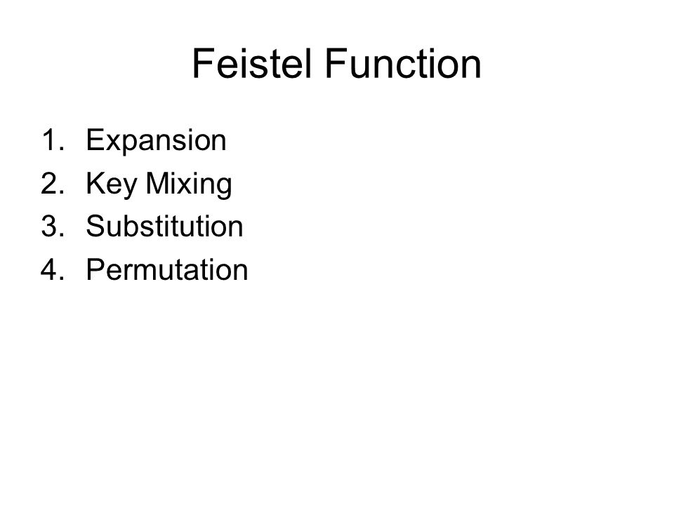 Feistel Function Expansion Key Mixing Substitution Permutation