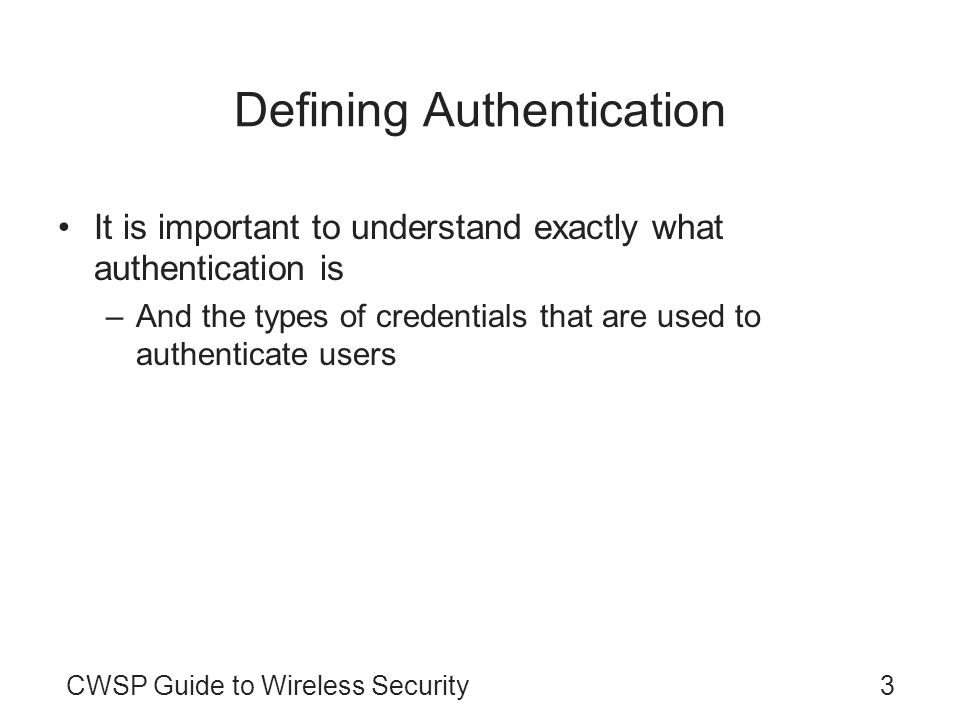 Defining Authentication
