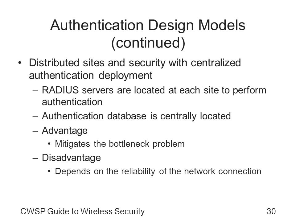 Authentication Design Models (continued)