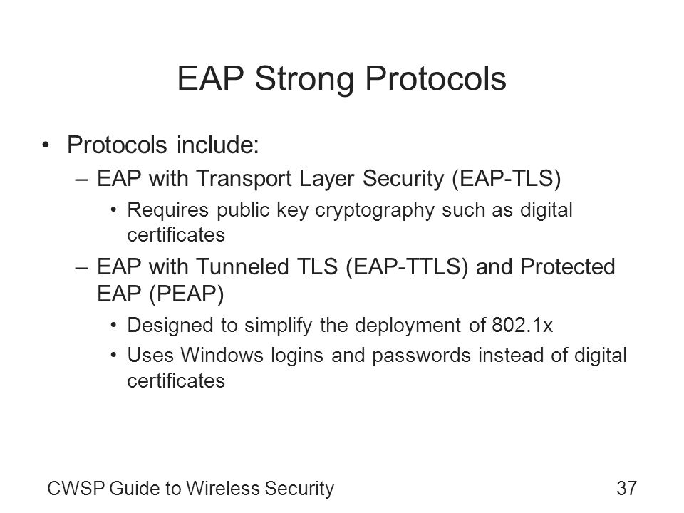 EAP Strong Protocols Protocols include: