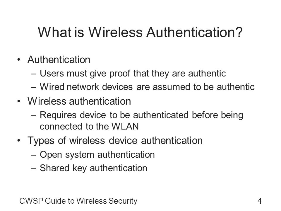 What is Wireless Authentication