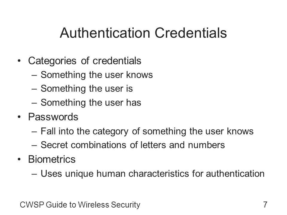 Authentication Credentials