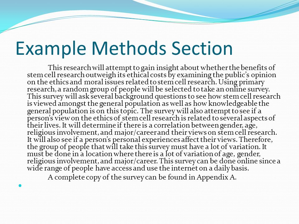 methods section in research paper I describe the various sections of a research paper in order to illustrate the structure of an introduction, methods section, results section, and discussion section in a format fitting for the 6 th edition of the american psychological association.
