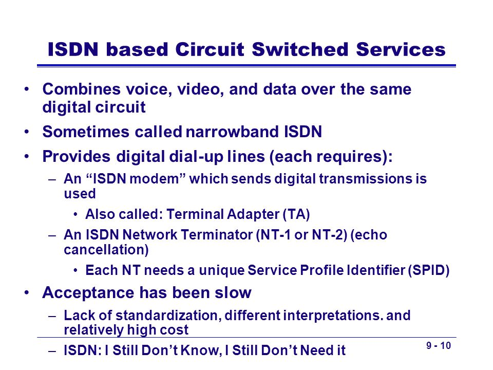 ISDN based Circuit Switched Services