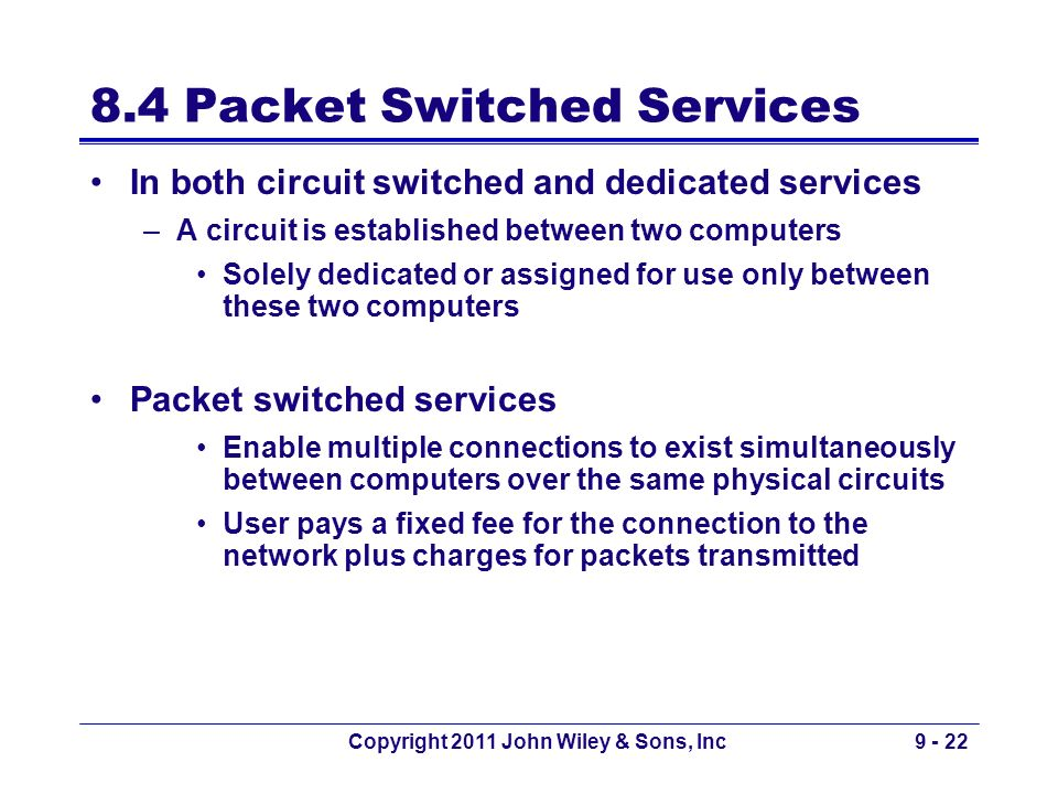 8.4 Packet Switched Services