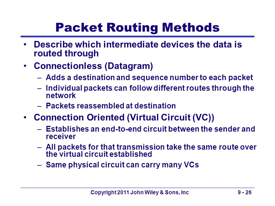 Packet Routing Methods