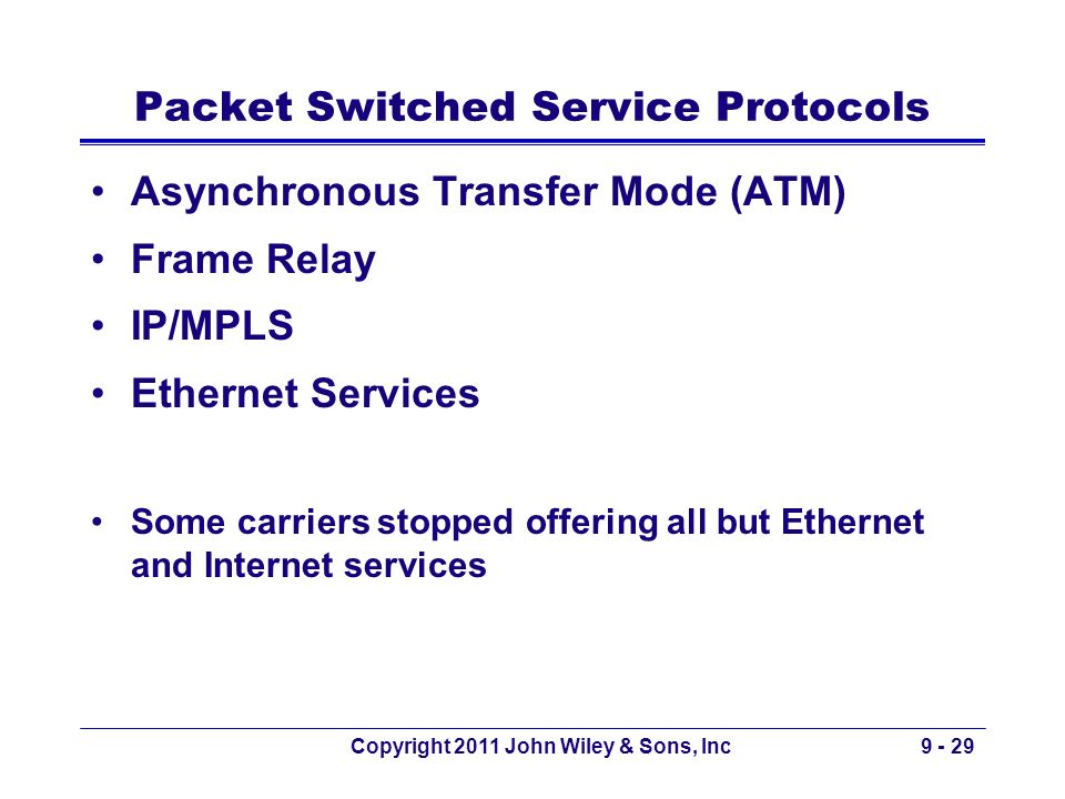 Packet Switched Service Protocols