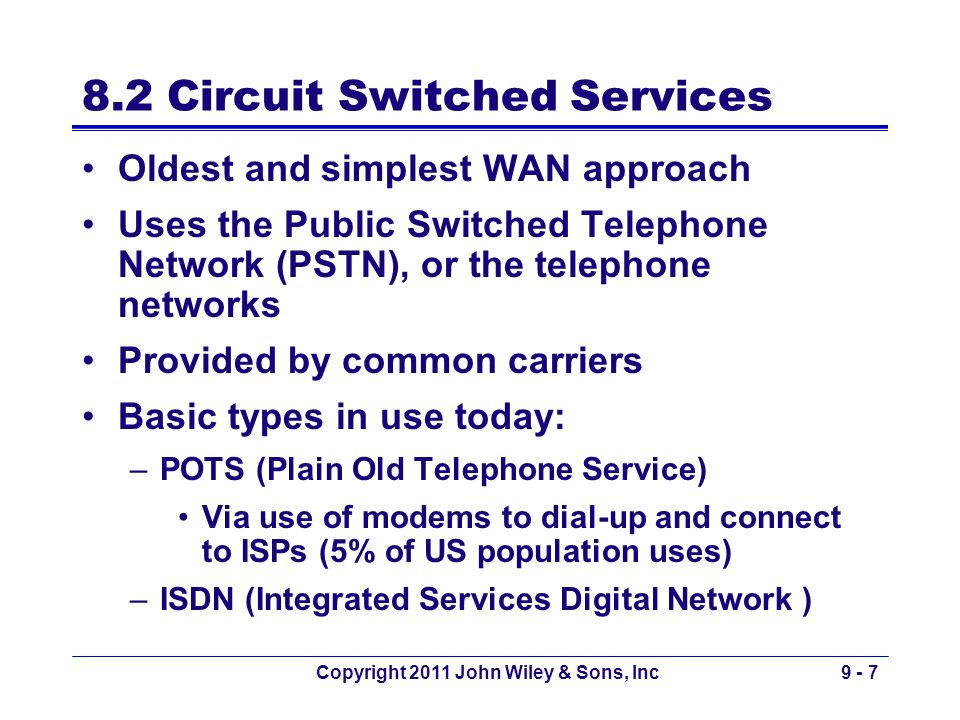 8.2 Circuit Switched Services