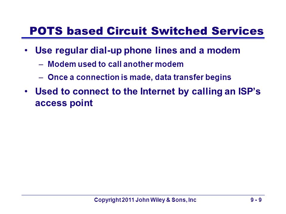 POTS based Circuit Switched Services