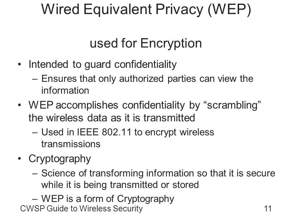 Wired Equivalent Privacy (WEP) used for Encryption