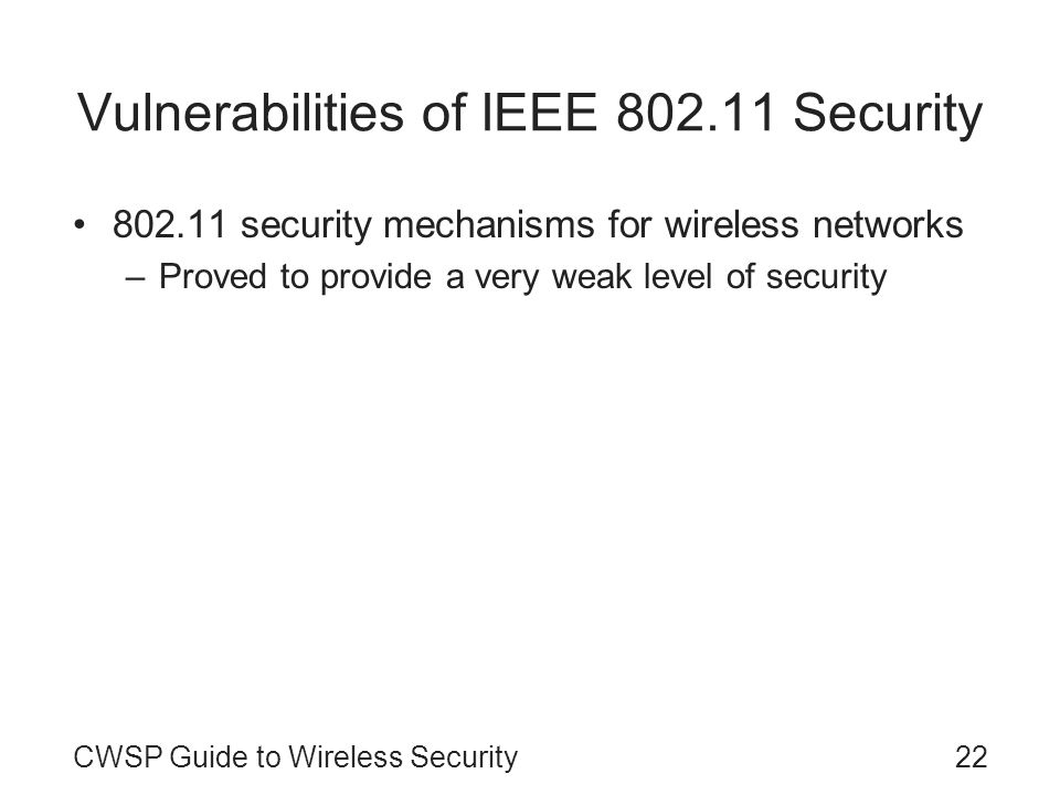Vulnerabilities of IEEE Security