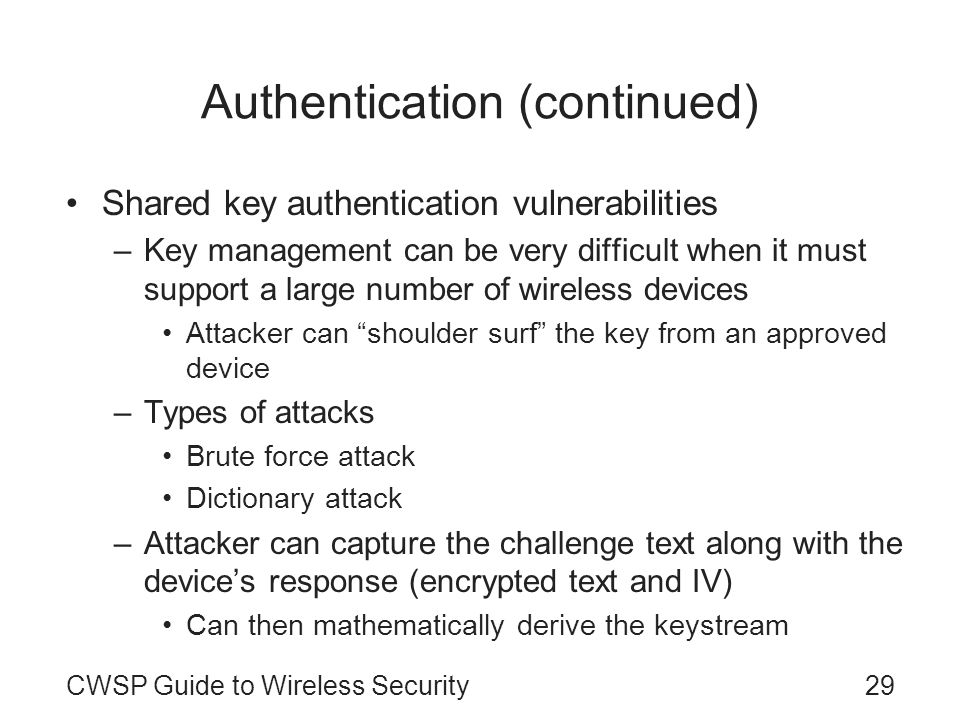 Authentication (continued)