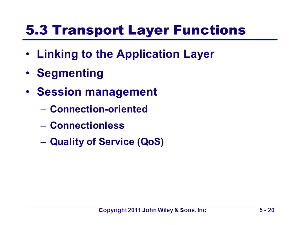 5.3 Transport Layer Functions