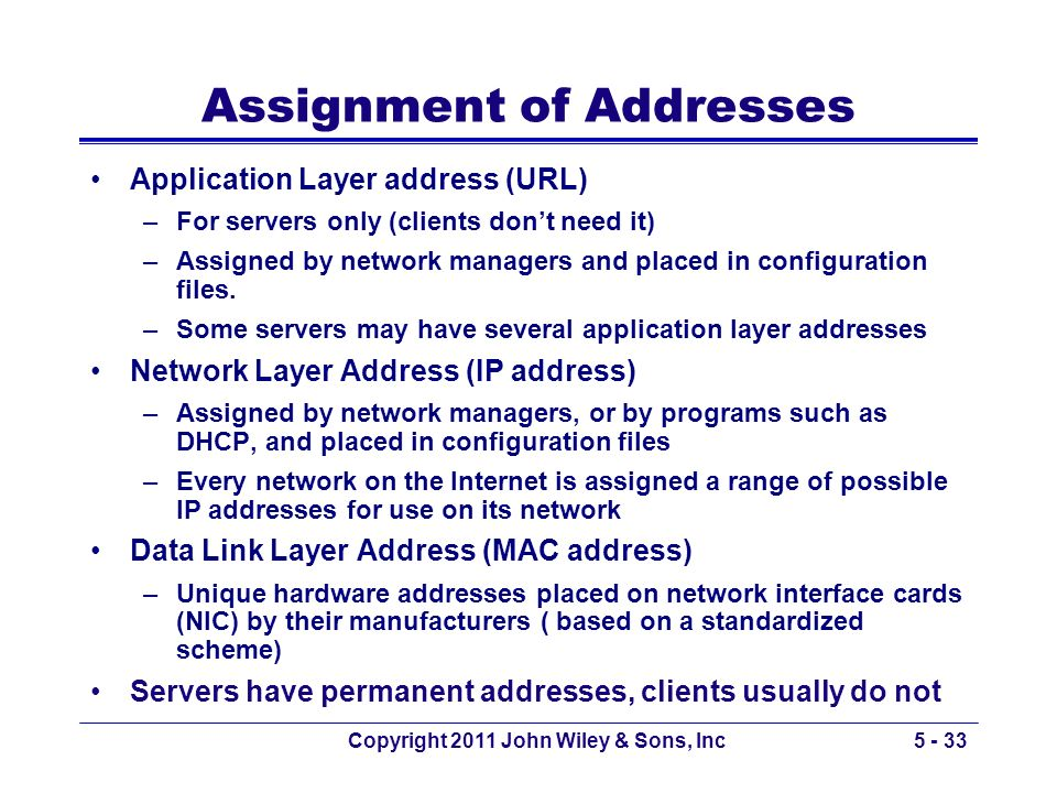 Assignment of Addresses