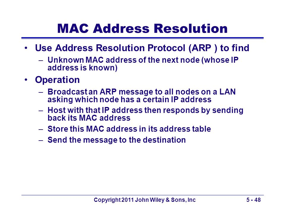 MAC Address Resolution