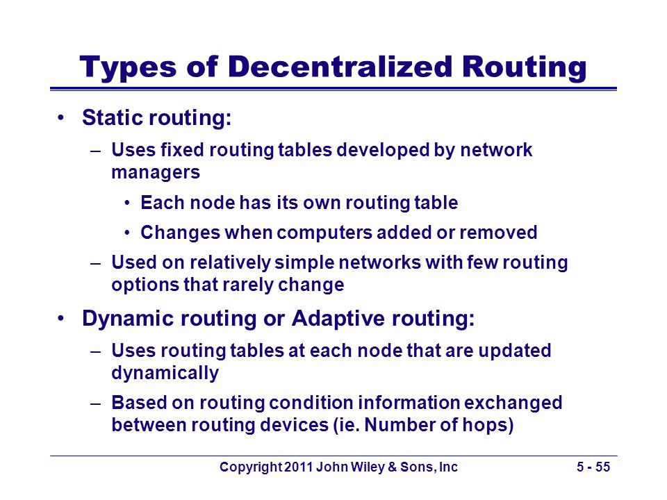 Types of Decentralized Routing