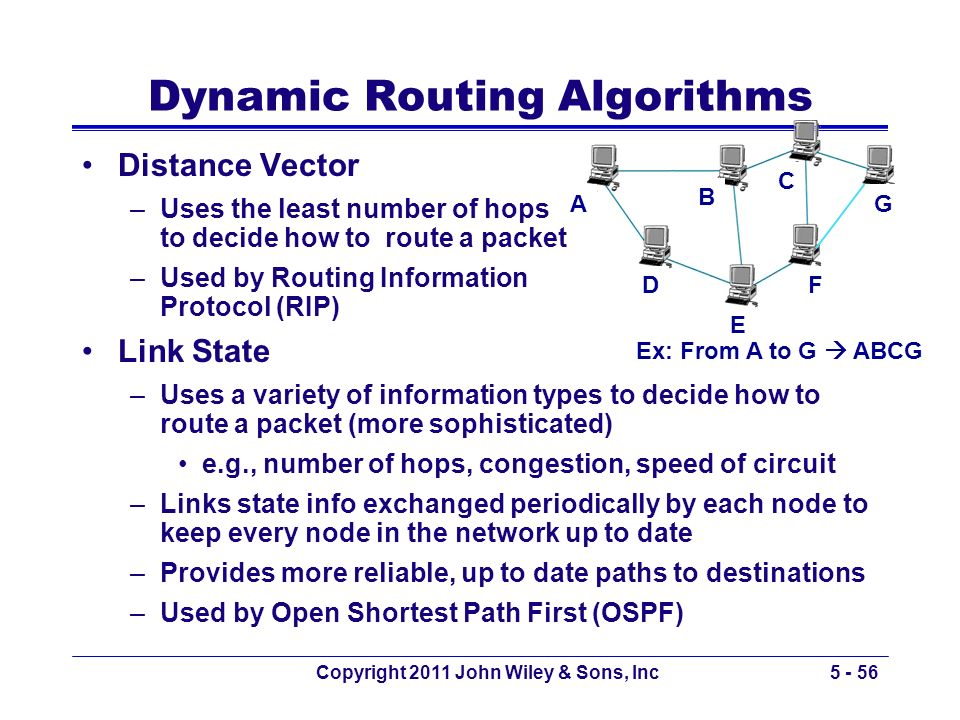 Dynamic Routing Algorithms