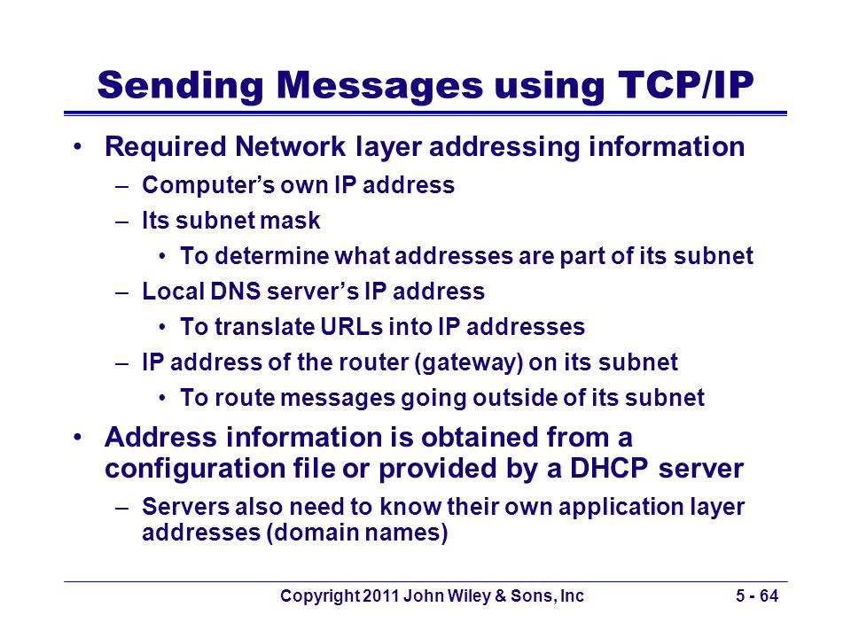Sending Messages using TCP/IP
