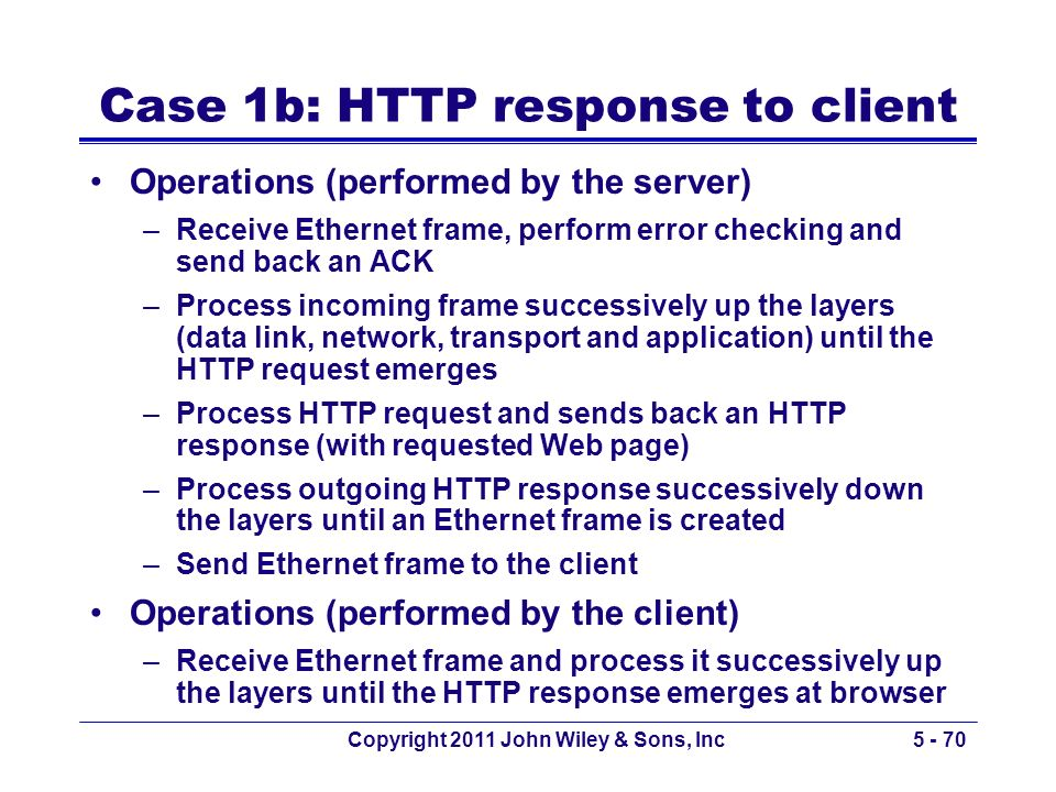 Case 1b: HTTP response to client