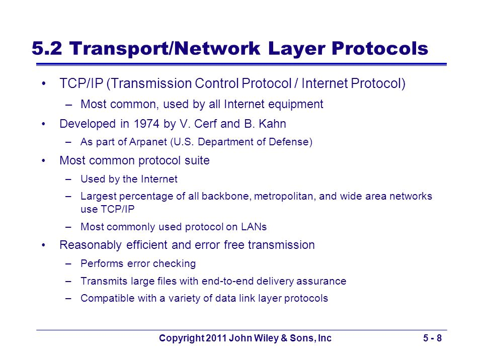 5.2 Transport/Network Layer Protocols
