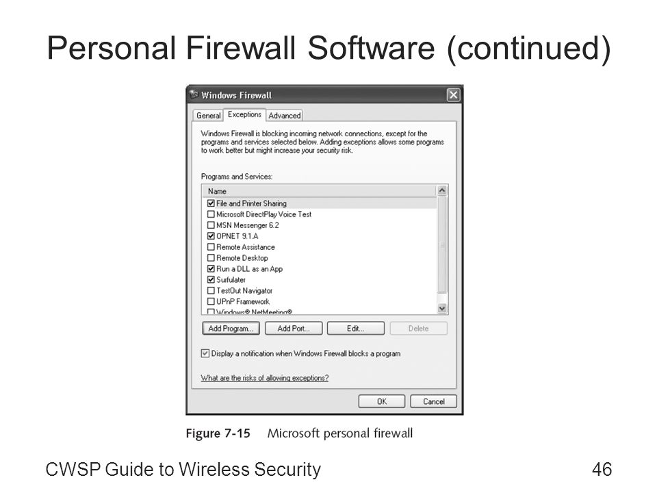 Personal Firewall Software (continued)