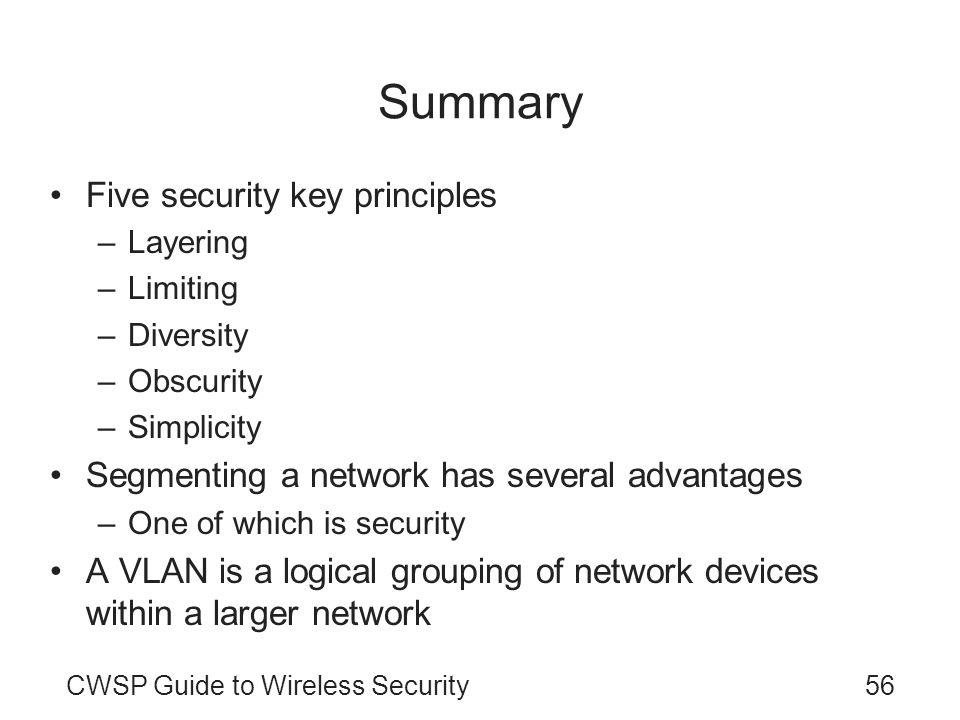Summary Five security key principles