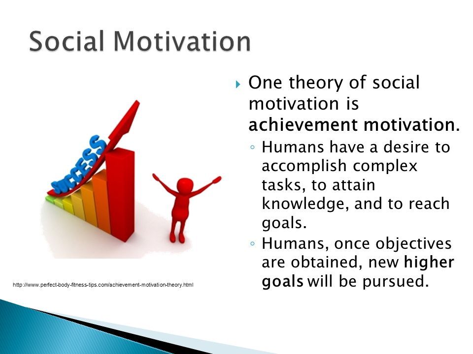 Social Motivation One theory of social motivation is achievement motivation.