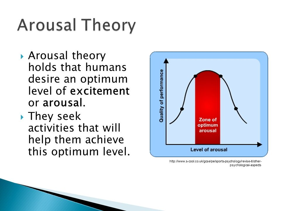 Arousal Theory Arousal theory holds that humans desire an optimum level of excitement or arousal.