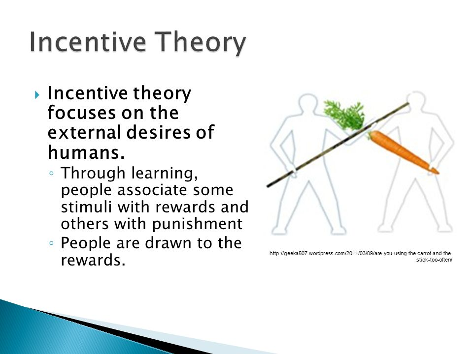 Incentive Theory Incentive theory focuses on the external desires of humans.